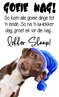 Lekker Dag, Goeie Nag, Prayer Quotes, Afrikaans, Good Thoughts, Good Night, Words, Sweet Dreams, Phone