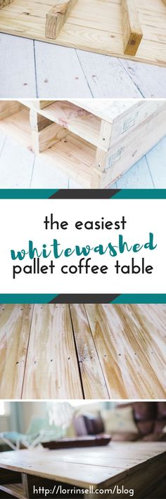 i am obsessed with this white washed pallet coffee table. it was so easy to make too!