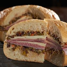 Italian Muffuletta Sandwich - something I used to eat all the time in OKC. A Food, Good Food, Food And Drink, Yummy Food, Soup And Sandwich, Sandwich Recipes, Cold Sandwiches, Meatball Sandwiches, Italian Sandwiches