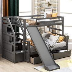 Twin Full Bunk Bed, Bunk Bed With Slide, Solid Wood Bunk Beds, Bunk Beds For Boys Room, Bunk Beds Boys, Bunk Bed Rooms, Bunk Bed With Trundle, Kid Beds, Bunk Beds