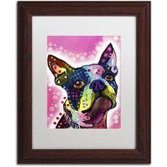 Trademark Fine Art Boston Terrier Canvas Art by Dean Russo, White Matte, Wood Frame, Size: 11 x 14, Brown