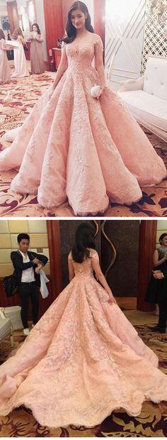2017 prom dresses, long lace prom dresses, pink prom dress, long evening dress,prom dress with beading,