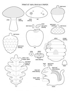 Free Template for Felt Woodland Creatures Pattern. Free pdf and use any material you want to make them. So cute.