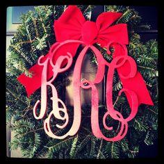 Monogram holiday wreath