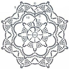Transcendent Crochet a Solid Granny Square Ideas. Inconceivable Crochet a Solid Granny Square Ideas. Crochet Snowflake Pattern, Crochet Motif Patterns, Crochet Snowflakes, Crochet Diagram, Crochet Chart, Crochet Designs, Crochet Doilies, Crochet Flowers, Crochet Stitches