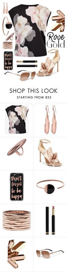 """""""Rosy New Year"""" by dtmsfashion ❤ liked on Polyvore featuring Ted Baker, Robert Lee Morris, House of Harlow 1960, Jimmy Choo, Casetify, Skagen, Repossi, Gucci, Oakley and rosegold"""