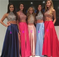 High Neck Two Piece Pink Taffeta Long Prom Dresses 2016, Front Split Mid Section Dark Blue Beadings Sexy Evening Prom Gowns,Showing Navel Formal Women Dresses,Graduation Dress