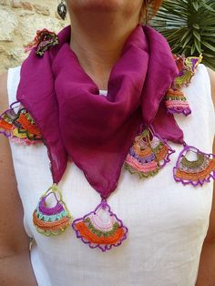Turkish Oya Mulberry Cotton Voile Square Scarf with Hand Crocheted Multicoloured Fan Shaped Edging