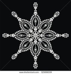Christmas snowflake crystal precious. Beautiful jewelry, medallion, brooch, decoration on neck, mandala, frame. Fashion pattern brilliant stones, silver applique rhinestones, jeweler - stock vector