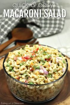 This Easy Macaroni Salad recipe is the perfect side dish to bring to Summer BBQ's, parties and more! Easy macaroni salad is loaded with veggies, cheese and more. You will love the creamy dressing in Macaroni salad recipe. Try this Pasta salad with mayo. Everyone will love this simple Elbow macaroni salad! Southern Macaroni Salad, Easy Macaroni Salad, Best Pasta Salad, Pasta Salad Recipes, Pasta Salad Recipe With Mayo, Macaroni Salad Ingredients, Summer Salads, Summer Bbq, Soup And Salad