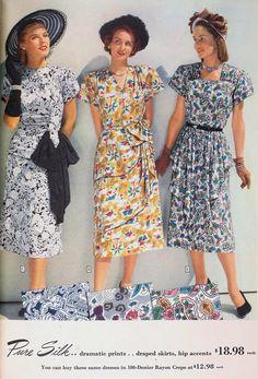 The Closet Historian: Vintage Spring Style Inspiration 1940s Fashion Dresses, 1940s Dresses, Day Dresses, Retro Fashion, Vintage Dresses, Vintage Outfits, Vintage Fashion, 1940's Fashion, 40s Outfits