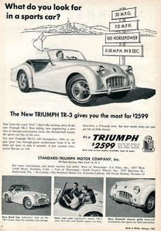 1956 Triumph TR-3 Advertisement Road & Track February 1956 | Flickr - Photo Sharing!