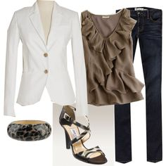 taupe top, white blazer, dark sandal...elegant