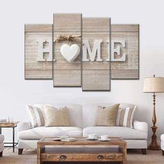 Love at Home Multi Panel Canvas Wall Art inspires you to make room for what matters most to you. Use your walls not only for decoration but also for meaningful art that stimulates you to be creative whenever you look at it. Family Room Walls, Family Wall Decor, Diy Wall Decor, Home Decor, Country Wall Decor, Dinning Room Wall Decor, Dining Room Walls, Home Living Room, Living Room Decor