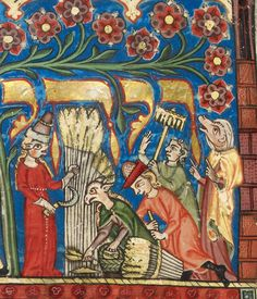 British Library, Additional 22413, detail of f. 71 (historiated initial-word panel of the story of Ruth with Ruth, Naomi and Boaz and his servants working of the field, at the beginning of the Book of Ruth to be read at Shavuot). Joseph Kara,...