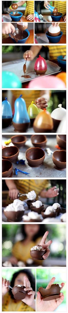 diy chocolate dessert cups - so fun! tkz: Did this one time at a friend's food party. Messy is what I remember. Yummy though - dark chocolate. Köstliche Desserts, Delicious Desserts, Dessert Recipes, Yummy Food, Dessert Bowls, Delicious Chocolate, French Desserts, Plated Desserts, Snacks