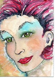 "watercolor ATC called ""Pleased"" hand drawn by Bonnie Tincup"