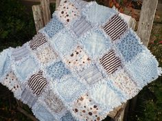 Baby Boy Rag Quilt Sky Blue and Brown Dots by SunflowerRagWorks, $60.00