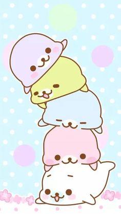 Cute kawaii wallpaper for iphone Cute Animal Drawings, Kawaii Drawings, Cute Drawings, Cute Wallpaper For Phone, Kawaii Wallpaper, Iphone Wallpaper, Chibi Kawaii, Kawaii Art, Cute Seals