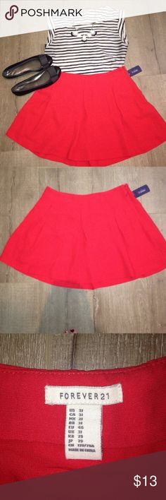 Red pleated skirt! Forever 21 red pleated skirt. Never worn, no imperfections. Tags still attached! Shirt and necklace for sale upon request. Shoes are in my closet under another listing. I can make a bundle! Skirts Mini