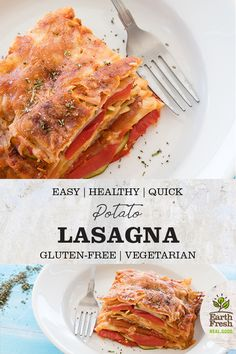 This Gluten-Free Potato Lasagna is the perfect make-ahead dinner for a busy week. EASY. HEALTHY. QUICK. GLUTEN-FREE. VEGETARIAN. RECIPE. FOOD. POTATOES. EARTHFRESH. Gluten Free Recipes For Dinner, Vegetarian Recipes Dinner, Dinner Recipes, Healthy Recipes, Summer Recipes, Fall Recipes, Christmas Recipes, Sin Gluten, Potato Lasagna