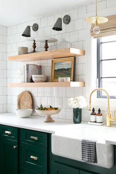Modern farmhouse kitchen with chunky floating shelves and white tile backsplash. Farmhouse Kitchen Floating Shelves and white backsplash tile Studio McGee. Kitchen Inspirations, Home Decor Kitchen, Modern Kitchen Cabinets, Kitchen Remodel, Kitchen Decor, New Kitchen, Green Kitchen Cabinets, Home Kitchens, Modern Farmhouse Kitchens