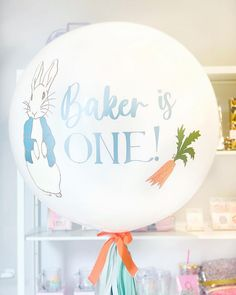 Peter Rabbit First Birthday Party. Peter Rabbit Balloon. Personalized Balloons Peter Rabbit Balloons, First Birthday Parties, First Birthdays, Jumbo Balloons, Personalized Balloons, Decorative Plates, Party, Home Decor, One Year Birthday