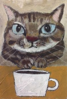Untitled by Ekaterina Samsonova on Curiator, the world's biggest collaborative art collection. I Love Cats, Crazy Cats, Cool Cats, Art And Illustration, Coffee Illustration, Frida Art, Image Chat, Photo Chat, Collaborative Art