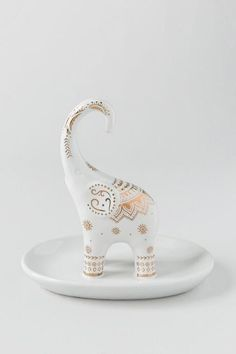 Gold Print Elephant Ring Holder $12.00