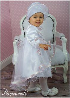 Taufkleid Edda inkl. Mantel in weiß-rosa - Princessmoda - Alles für Taufe Kommunion und festliche Anlässe
