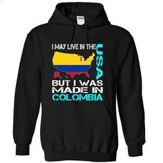 I May Live in The USA But I Was Made in Colombia (Blue) - #tshirt inspiration #harvard sweatshirt. MORE INFO => https://www.sunfrog.com/States/I-May-Live-in-The-USA-But-I-Was-Made-in-Colombia-Blue-atoivimawn-Black-Hoodie.html?68278