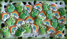 Owl and Rainbow cookies - St. Patricks Day - 2 dozen mini cookies
