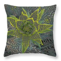 All Throw Pillows - Green Flower 1 Throw Pillow by Lovina Wright