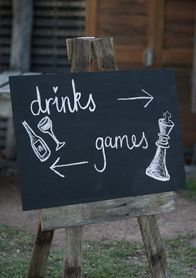 Drinks and games chalk board wedding sign with cute icons.