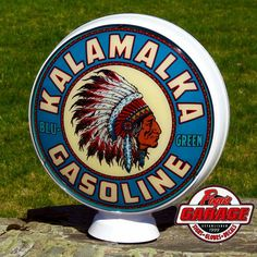 Beautiful 8- Color Kalamalka Reproduction Gas Globe by Pogo's Garage! Incredible detail!!