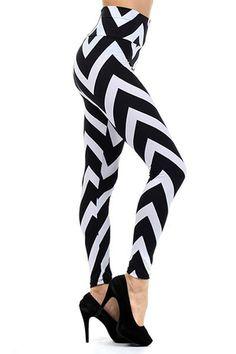 High Waist Monochrome Chevron Leggings with Zipper