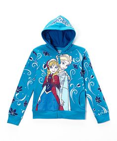 Take a look at this Blue Frozen Zip-Up Hoodie - Girls on zulily today!