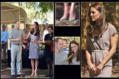 Prince William and Catherine, Duchess of Cambridge, aka Kate Middleton, visiting the National Indigenous Training Academy, Yulara, Australia. She is wearing a dress by Roksanda Ilincic, LK Bennett Sledge pumps, the grey suede McQueen clutch, Double Leaf earrings by artisan Catherine Zoraida, and a necklace of charms from the Woodland collection by Asprey of London. 4/22/14