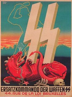 Waffen SS recruiting poster in Belgium for replacement army by Germany.