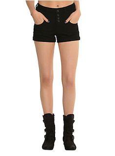 <p>Black shorts with a 4-button high waist and cuffed leg openings.</p>  <ul> <li>98% cotton; 2% spandex</li> <li>Wash cold; dry low</li> <li>Imported</li> </ul>