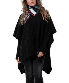 This Black Textured Poncho & Arm Warmers - Plus by Zaira is perfect! #zulilyfinds