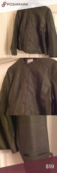 AMRY GREEN FAUX LEATHER JACKET W/Lots of detail Great Condition oSo Casuals Jackets & Coats