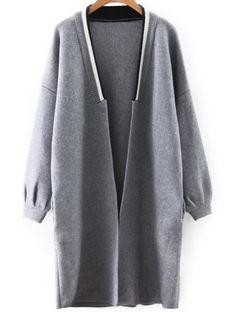 Slouchy Longline Cardigan GRAY: Sweaters | ZAFUL