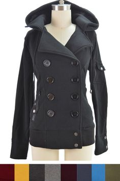 Comfy CHIC Double Breasted BOMBER Pea Coat Style JACKET with HOOD & Pockets