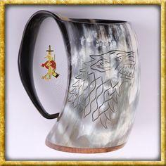 Game of Thrones - Verzierter Hornkrug House Stark Gandalf, Arya Stark, Game Of Thrones Merchandise, Beer, Mugs, Glasses, Tableware, House Stark, Medieval Weapons