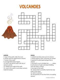 Help your kids or students learn about volcanoes with this printable crossword just for them. Find lots of other handy puzzle print outs for the class room and home.