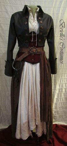 Sky Pirate costume- skirt and skirt wrap would be an easy make. So would the belt. Have pattern for the different corsets.