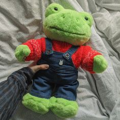 "hazedcalm: ""nothing has improved my life like my build a bear frog (ig: ryansageg) "" Cute Stuffed Animals, Dinosaur Stuffed Animal, Cute Animals, Sock Animals, Cute Frogs, Green Frog, Frog And Toad, Frog Frog, Cute Plush"