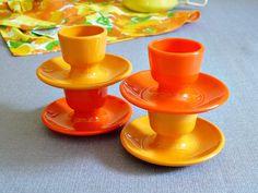 1960s Emsa West Germany Orange and Ochre Egg Cup Set. $20.00, via Etsy.
