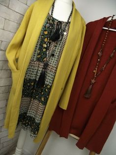Neu Italy Kleid Plissee Elegant Langarm Chiffon Oversize Curry-Senf 38 40 42 44